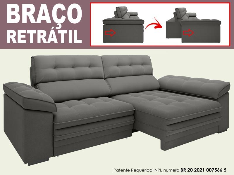 Sofá Capriccio 2,30m Assento com Braço Retrátil e Reclinável Velosuede - NETSOFAS