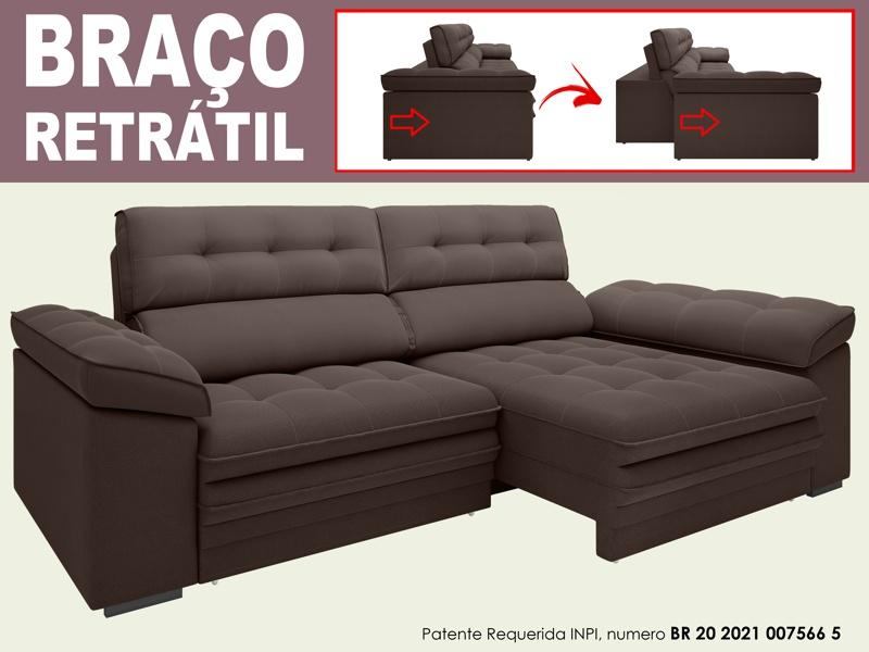 Sofá Capriccio 2,50m Assento com Braço Retrátil e Reclinável Velosuede - NETSOFAS