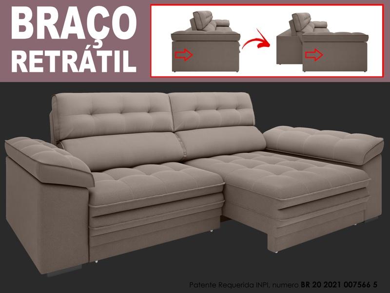 Sofá Capriccio 2,70m Assento com Braço Retrátil e Reclinável Velosuede - NETSOFAS