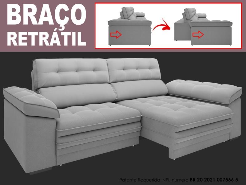 Sofá Capriccio 2,90m Assento com Braço Retrátil e Reclinável Velosuede - NETSOFAS  - NETSOFÁS