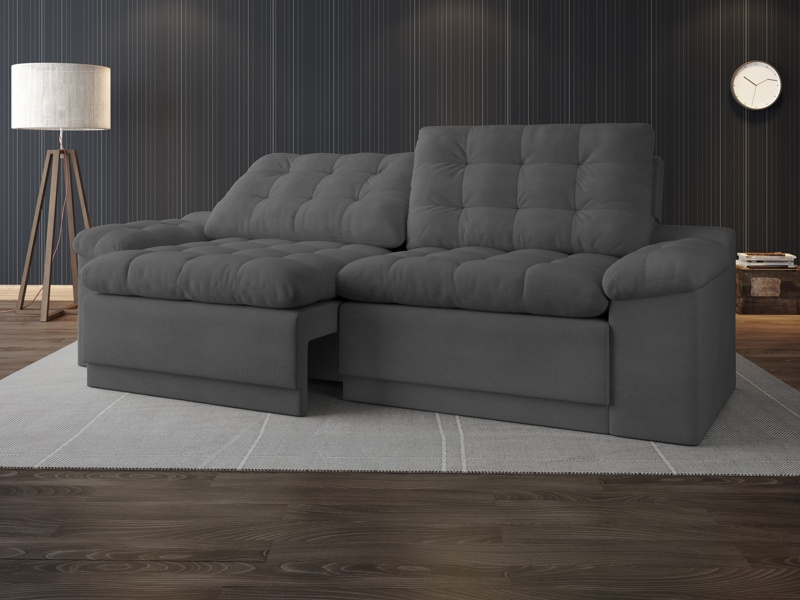 Sofá Confort  2,20m Assento Retrátil e Reclinável Velosuede - NETSOFAS
