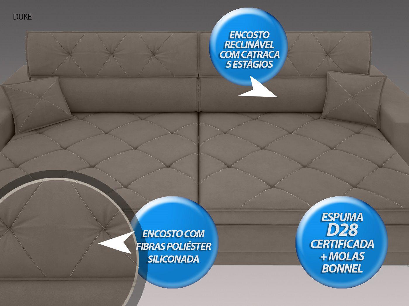 Sofá Duke 2,10m Retrátil e Reclinável Velosuede Bege - NETSOFAS