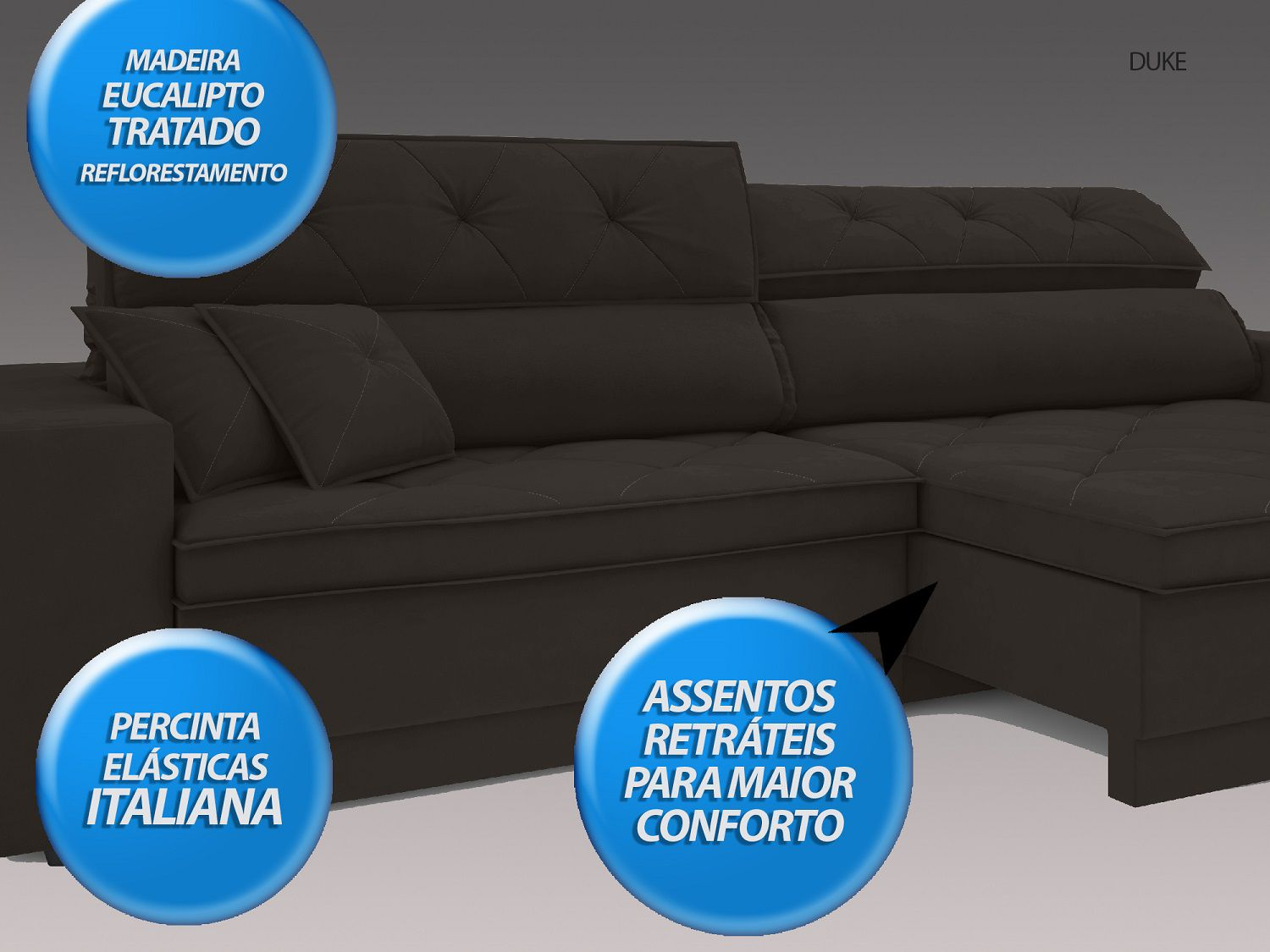 Sofá Duke 2,10m Retrátil e Reclinável Velosuede Chocolate  - NETSOFAS
