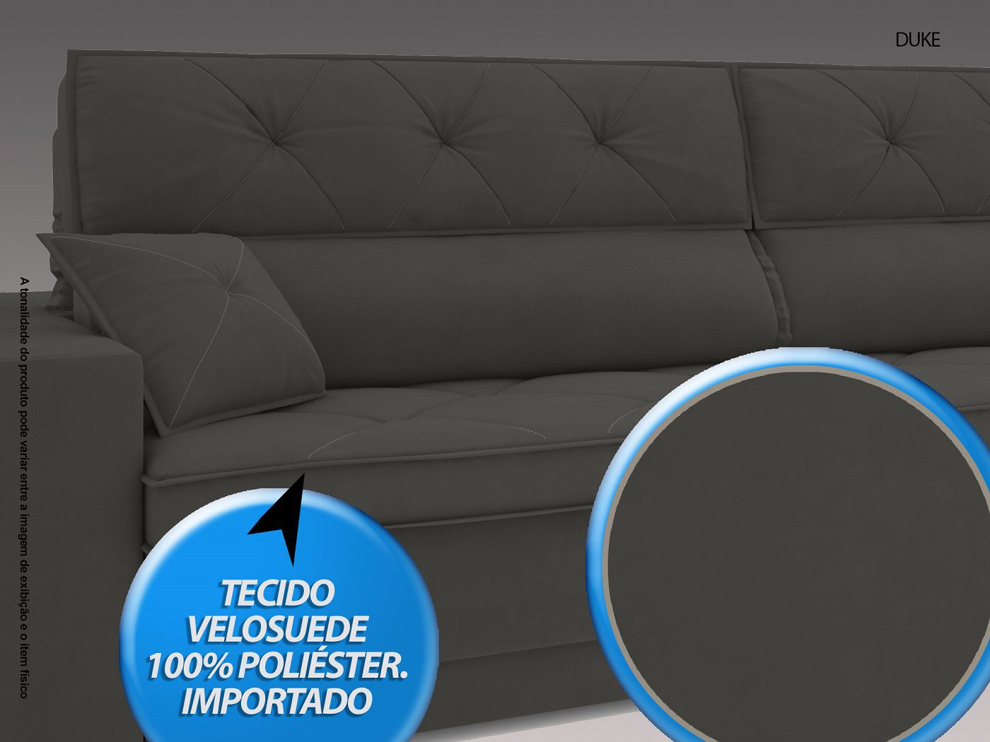 Sofá Duke 2,10m Retrátil e Reclinável Velosuede Cinza - NETSOFAS