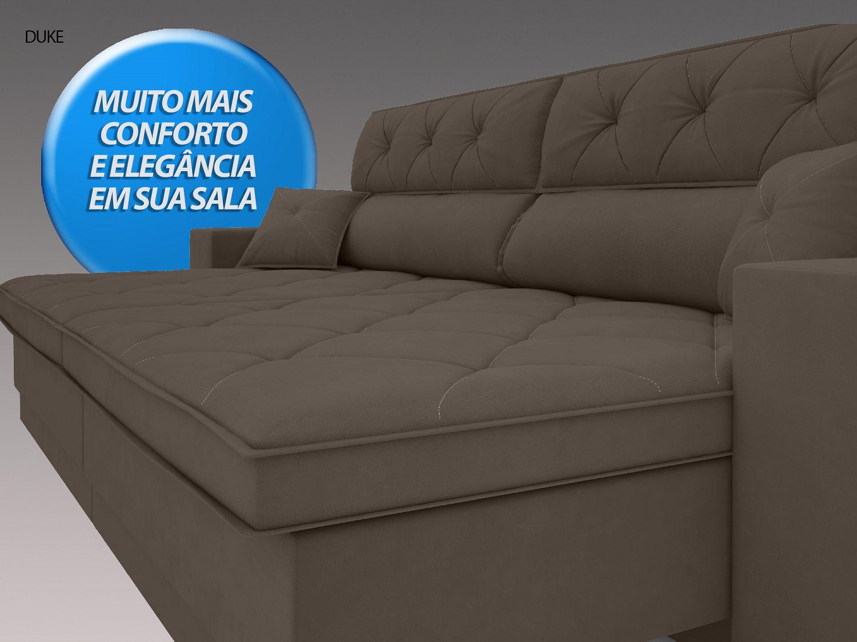 Sofá Duke 2,10m Retrátil e Reclinável Velosuede Marrom - NETSOFAS