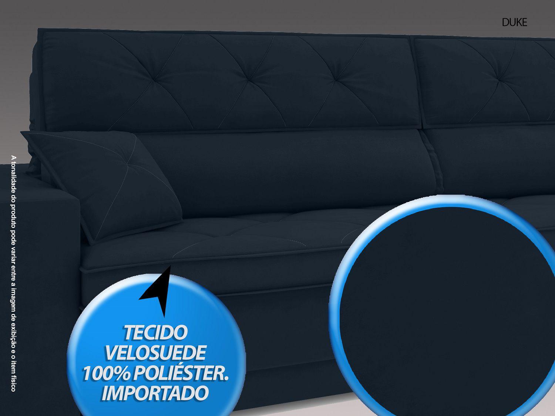 Sofá Duke 2,10m Retrátil e Reclinável Velosuede Petroleo  - NETSOFAS