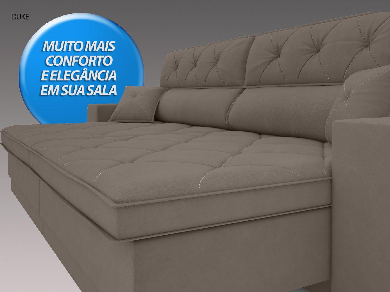 Sofá Duke 2,50m Retrátil e Reclinável Velosuede Bege - NETSOFAS