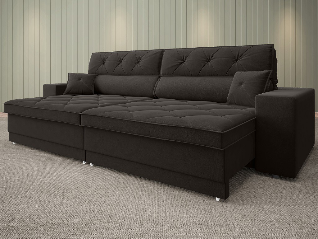Sofá Duke 2,50m Retrátil e Reclinável Velosuede Chocolate  - NETSOFAS