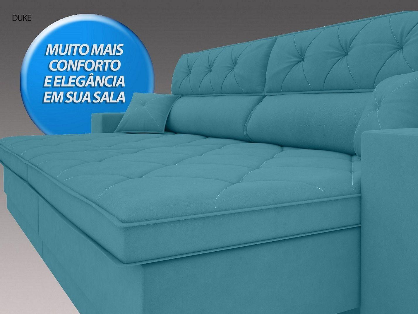 Sofá Duke 2,50m Retrátil e Reclinável Velosuede Turquesa  - NETSOFAS