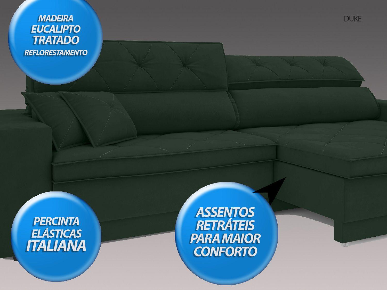 Sofá Duke 2,50m Retrátil e Reclinável Velosuede Verde  - NETSOFAS