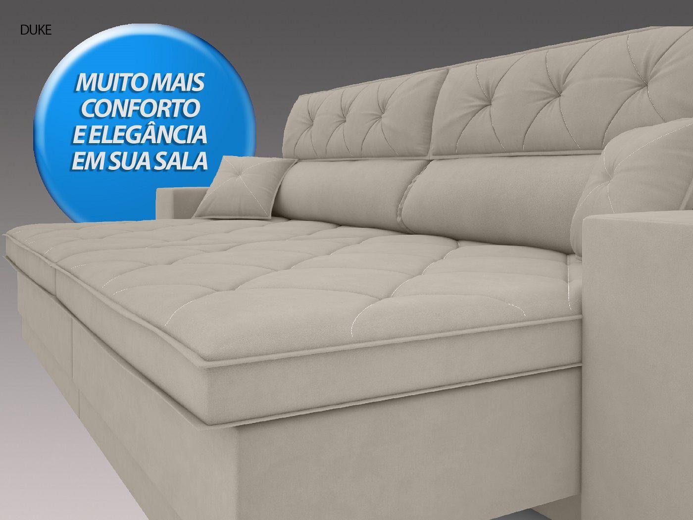 Sofá Duke 2,70m Retrátil e Reclinável Velosuede Areia - NETSOFAS