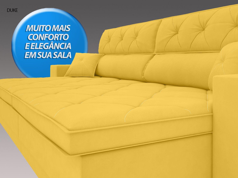 Sofá Duke 2,70m Retrátil e Reclinável Velosuede Canario  - NETSOFAS