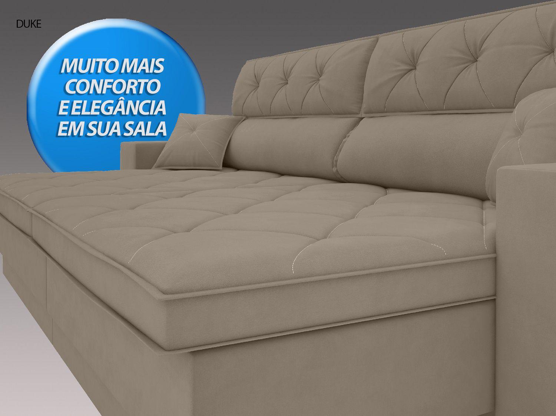 Sofá Duke 2,70m Retrátil e Reclinável Velosuede Capuccino  - NETSOFAS