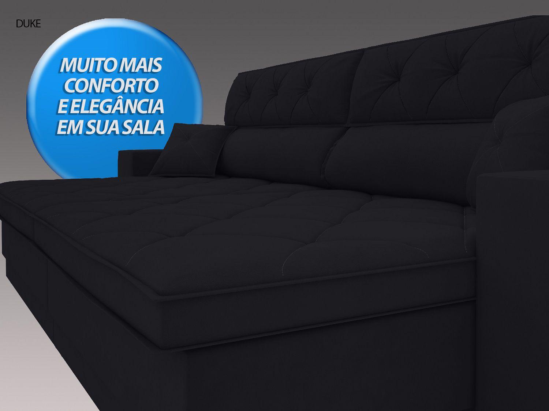 Sofá Duke 2,70m Retrátil e Reclinável Velosuede Preto - NETSOFAS