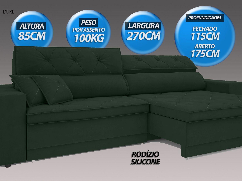 Sofá Duke 2,70m Retrátil e Reclinável Velosuede Verde  - NETSOFAS