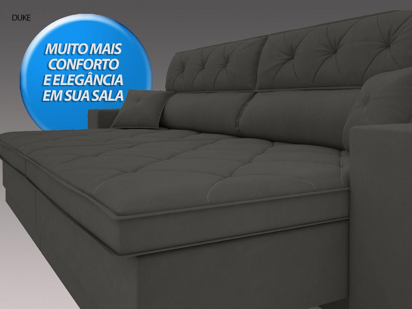 Sofá Duke 2,90m Retrátil e Reclinável Velosuede Cinza - NETSOFAS