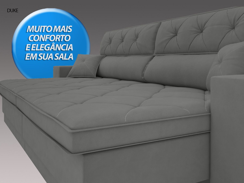 Sofá Duke 2,90m Retrátil e Reclinável Velosuede Grafite - NETSOFAS  - NETSOFÁS