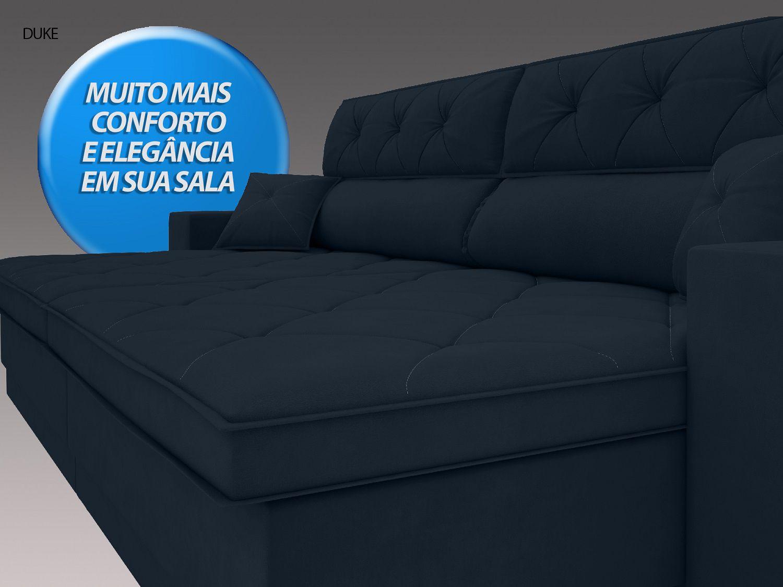 Sofá Duke 2,90m Retrátil e Reclinável Velosuede Petroleo  - NETSOFAS  - NETSOFÁS