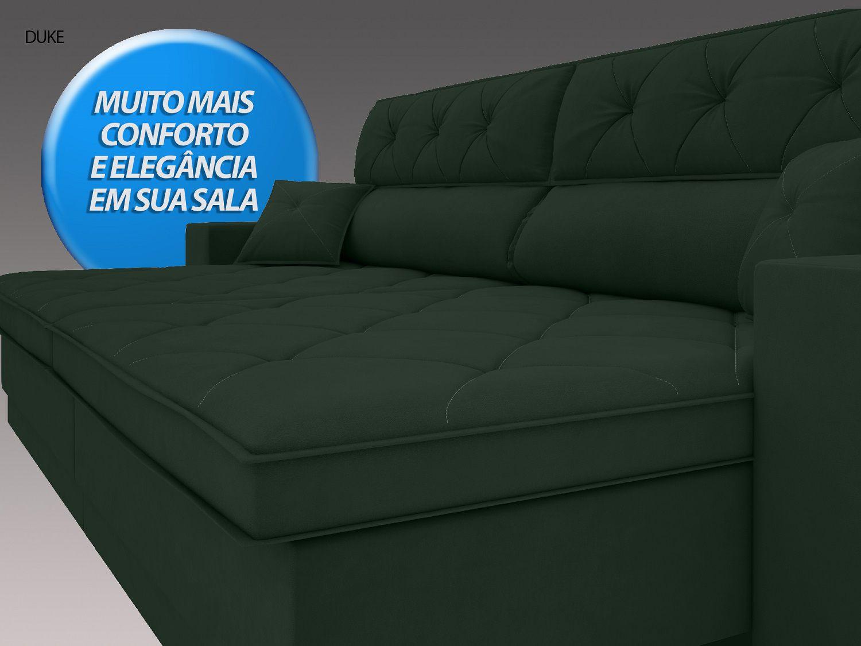 Sofá Duke 2,90m Retrátil e Reclinável Velosuede Verde  - NETSOFAS  - NETSOFÁS