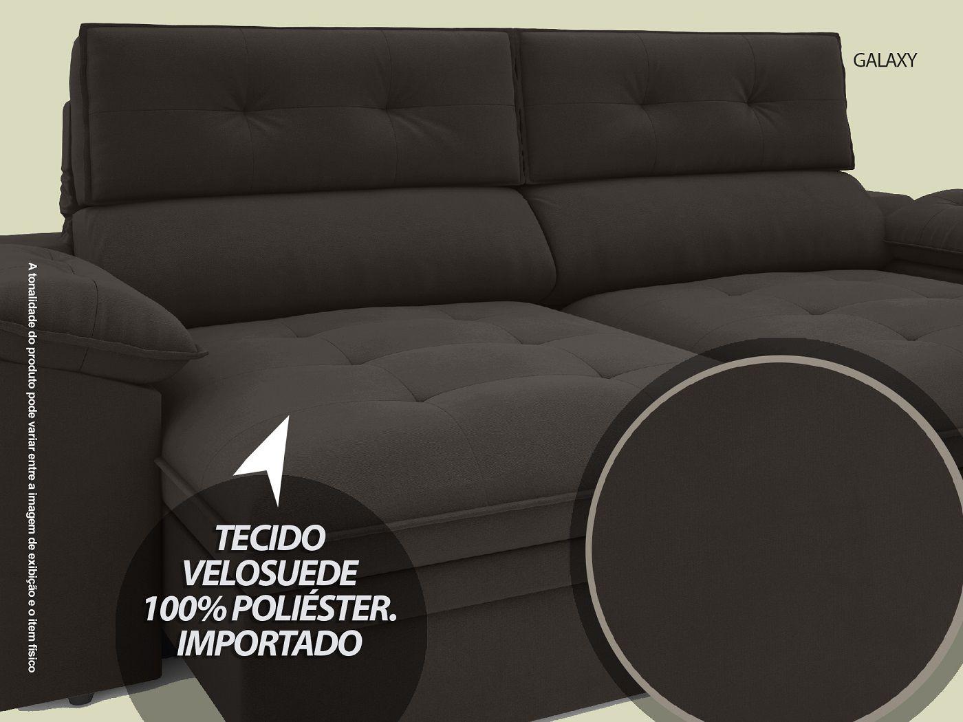 Sofá Galaxy 2,23m Retrátil e Reclinável Com Baú Velosuede Chocolate - NETSOFAS
