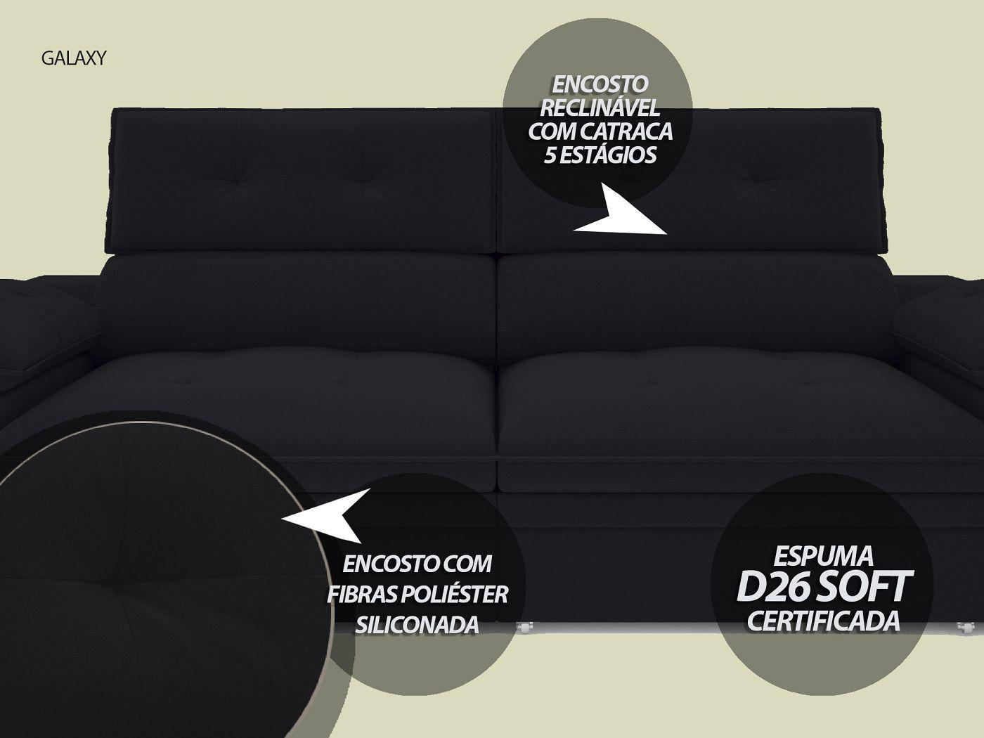 Sofá Galaxy 2,23m Retrátil e Reclinável Com Baú Velosuede Preto - NETSOFAS