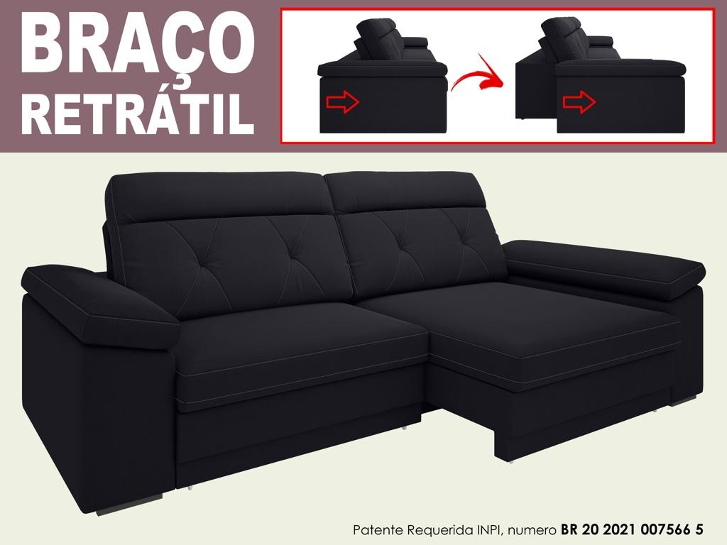 Sofá Glamour 2,10m Assento  com Braço Retrátil e Reclinável Velosuede - NETSOFAS  - NETSOFÁS