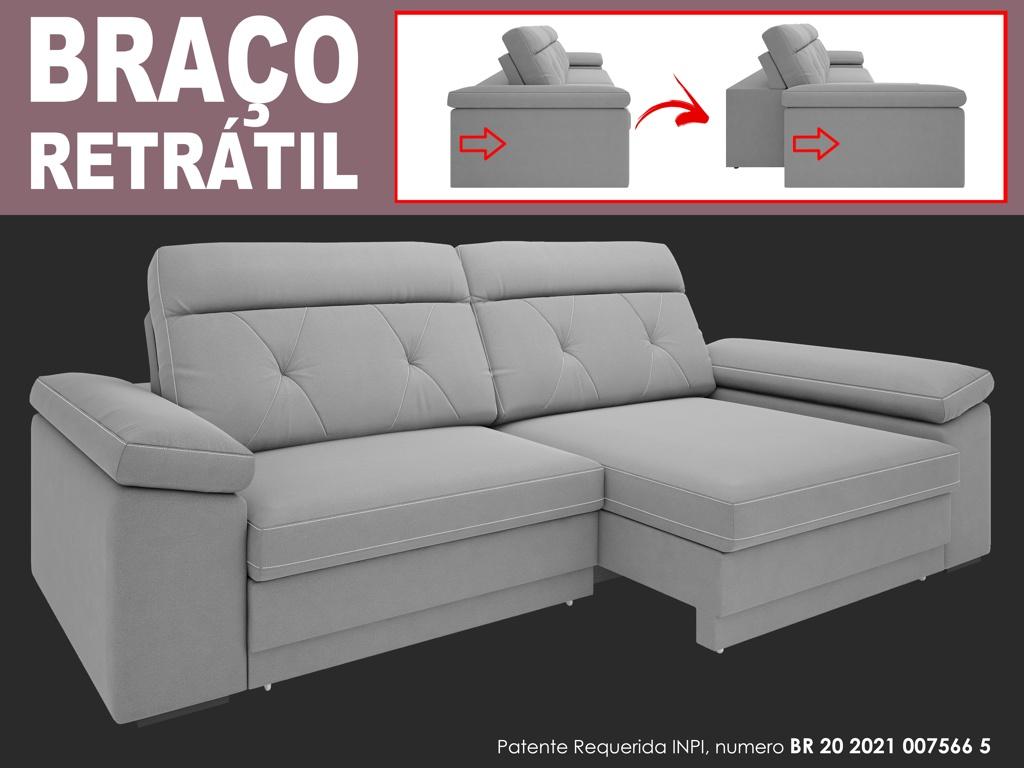 Sofá Glamour 2,10m Assento  com Braço Retrátil e Reclinável Velosuede - NETSOFAS