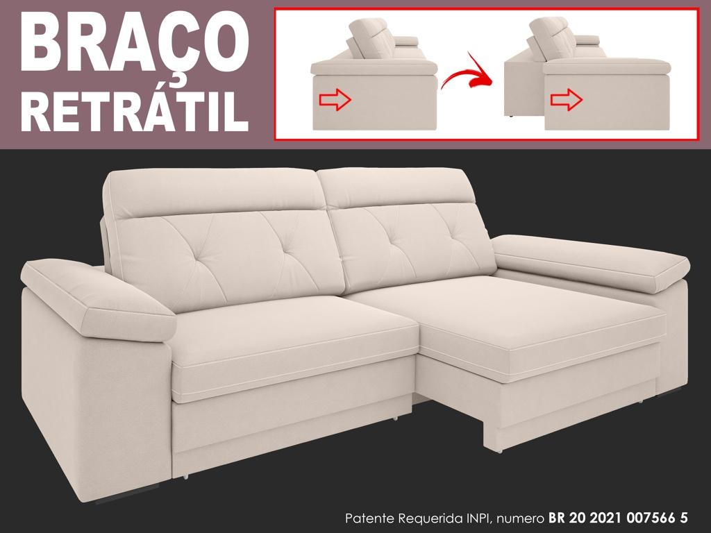 Sofá Glamour 2,30m Assento  com Braço Retrátil e Reclinável Velosuede - NETSOFAS  - NETSOFÁS