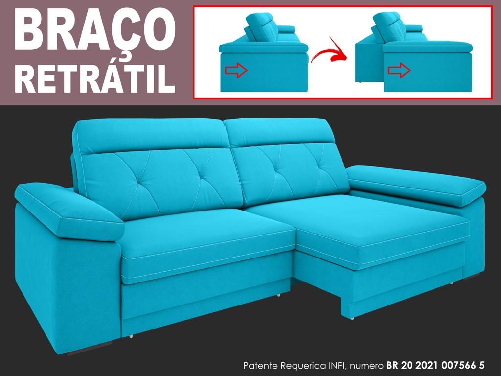Sofá Glamour 2,50m Assento  com Braço Retrátil e Reclinável Velosuede - NETSOFAS