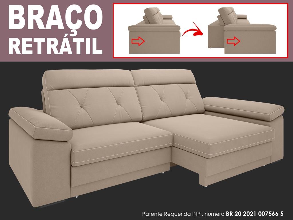 Sofá Glamour 2,50m Assento  com Braço Retrátil e Reclinável Velosuede - NETSOFAS  - NETSOFÁS
