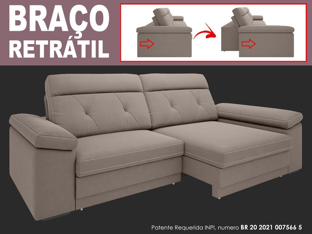 Sofá Glamour 2,70m Assento  com Braço Retrátil e Reclinável Velosuede - NETSOFAS  - NETSOFÁS