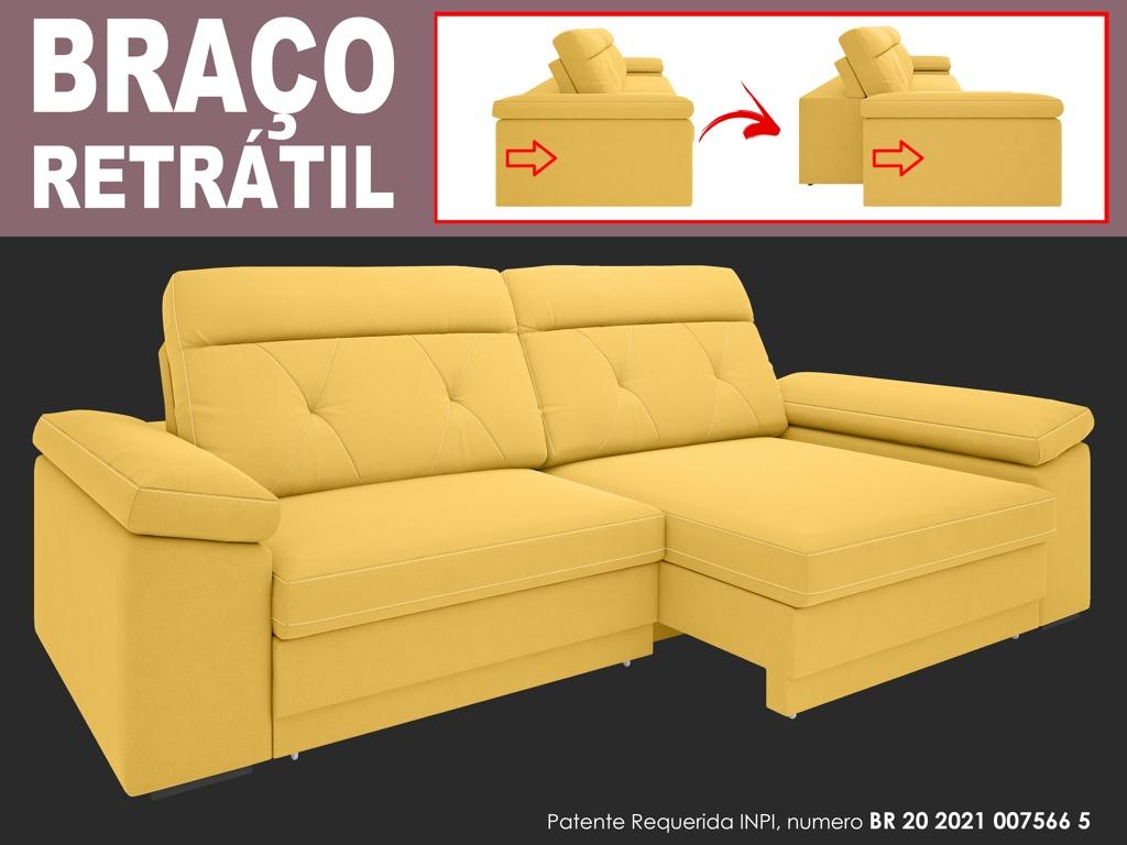 Sofá Glamour 2,90m Assento  com Braço Retrátil e Reclinável Velosuede - NETSOFAS