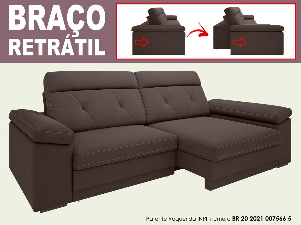 Sofá Glamour 2,90m Assento  com Braço Retrátil e Reclinável Velosuede - NETSOFAS  - NETSOFÁS