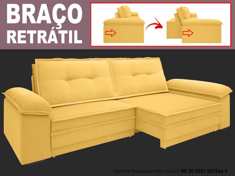 Sofá Luxor 2,10m Assento com Braço Retrátil e Reclinável Velosuede - NETSOFAS
