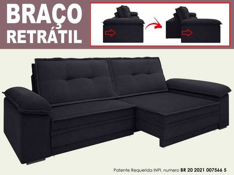 Sofá Luxor 2,30m Assento com Braço Retrátil e Reclinável Velosuede - NETSOFAS  - NETSOFÁS