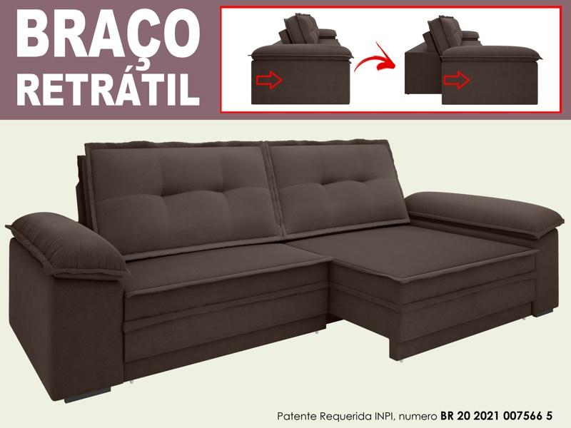 Sofá Luxor 2,30m Assento com Braço Retrátil e Reclinável Velosuede - NETSOFAS