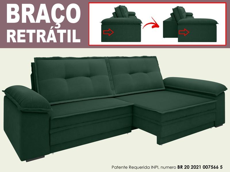 Sofá Luxor 2,70m Assento com Braço Retrátil e Reclinável Velosuede - NETSOFAS