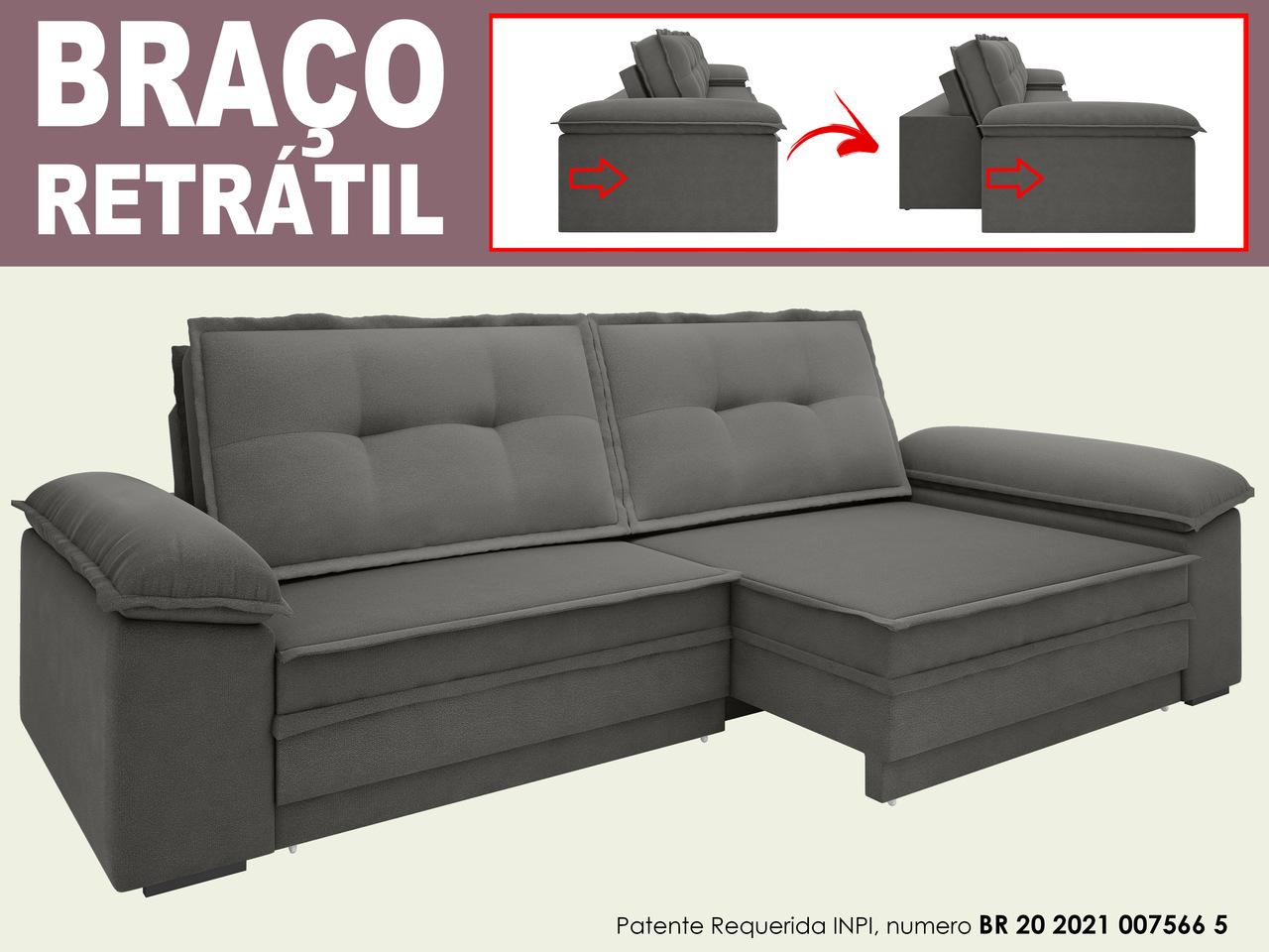 Sofá Luxor 2,90m Assento com Braço Retrátil e Reclinável Velosuede - NETSOFAS
