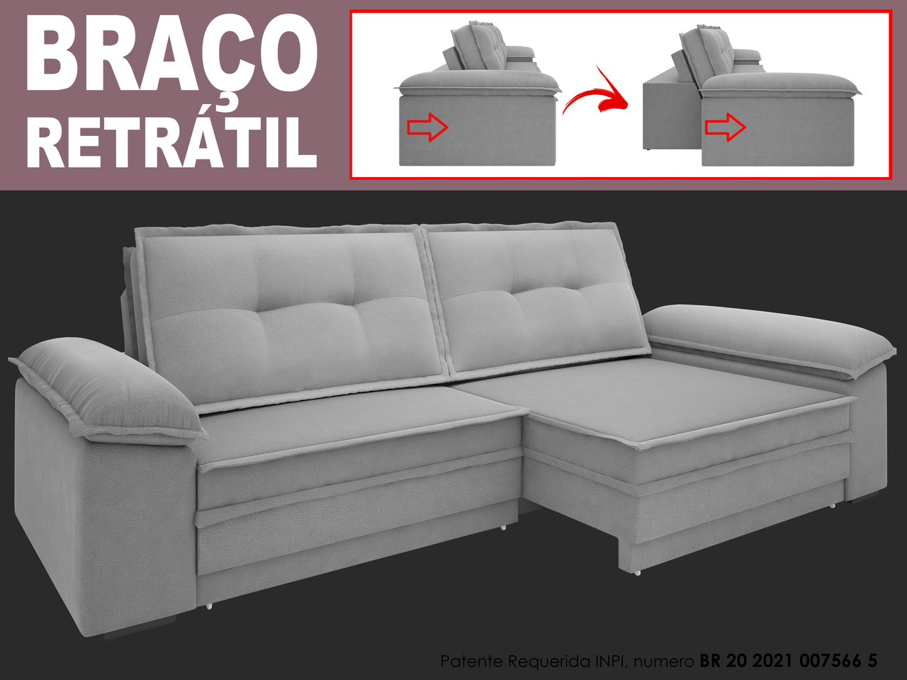 Sofá Luxor 2,90m Assento com Braço Retrátil e Reclinável Velosuede - NETSOFAS  - NETSOFÁS