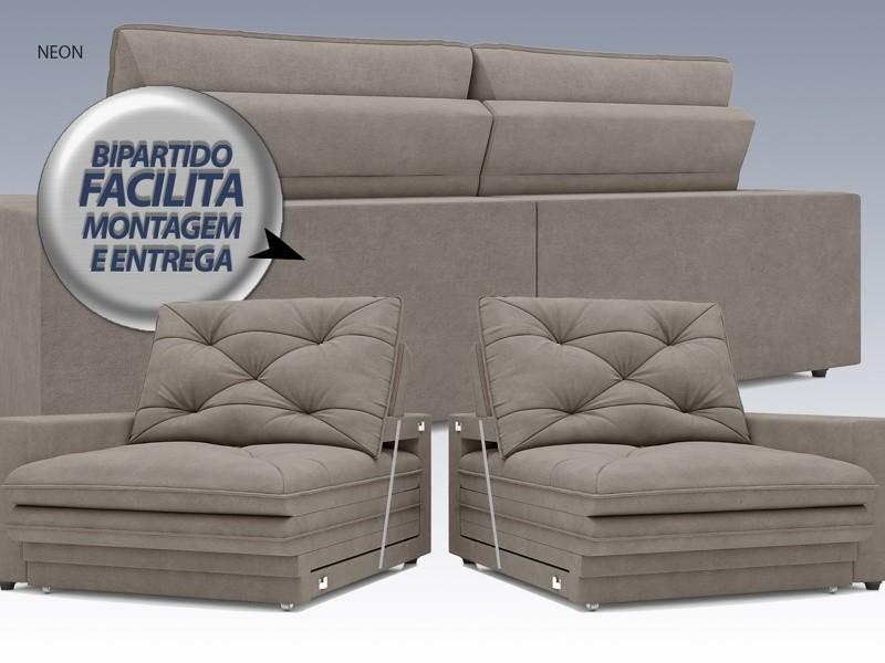 Sofá Neon 2,00m Retrátil e Reclinável Velosuede Bege - NETSOFAS  - NETSOFÁS