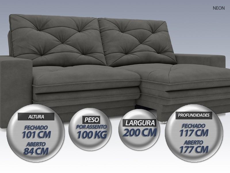Sofá Neon 2,00m Retrátil e Reclinável Velosuede Cinza - NETSOFAS