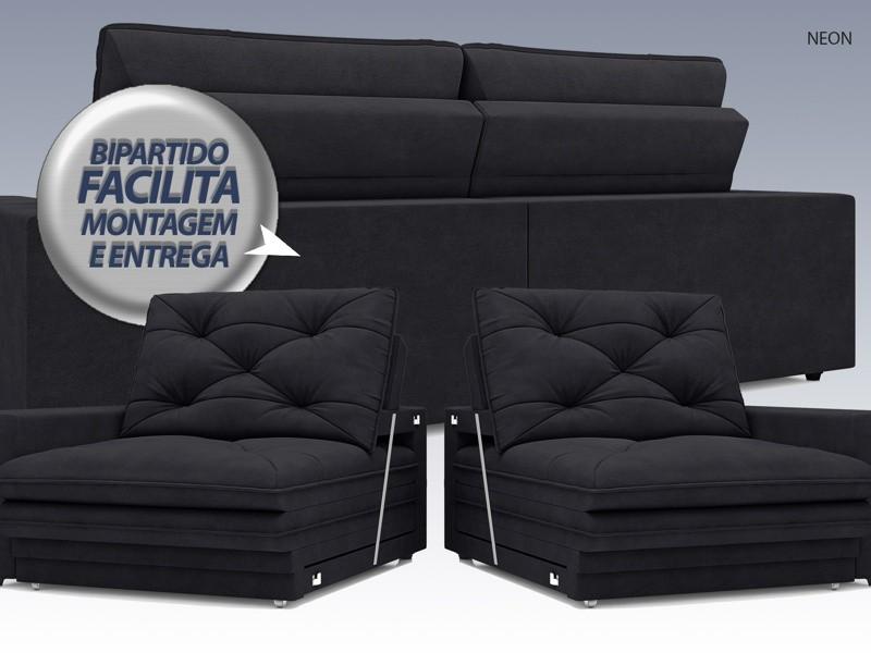 Sofá Neon 2,00m Retrátil e Reclinável Velosuede Preto - NETSOFAS  - NETSOFÁS