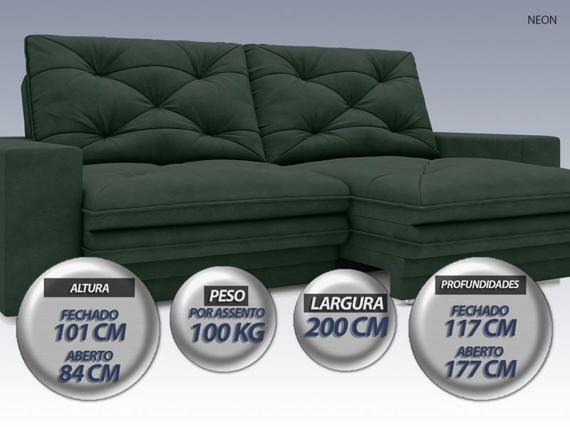 Sofá Neon 2,00m Retrátil e Reclinável Velosuede Verde - NETSOFAS  - NETSOFÁS