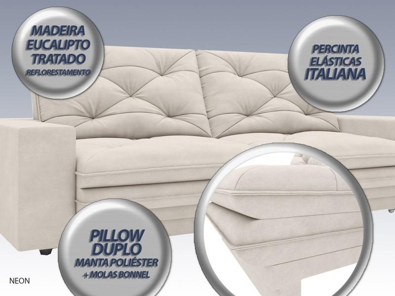 Sofá Neon 2,20m Retrátil e Reclinável Velosuede Areia - NETSOFAS  - NETSOFÁS