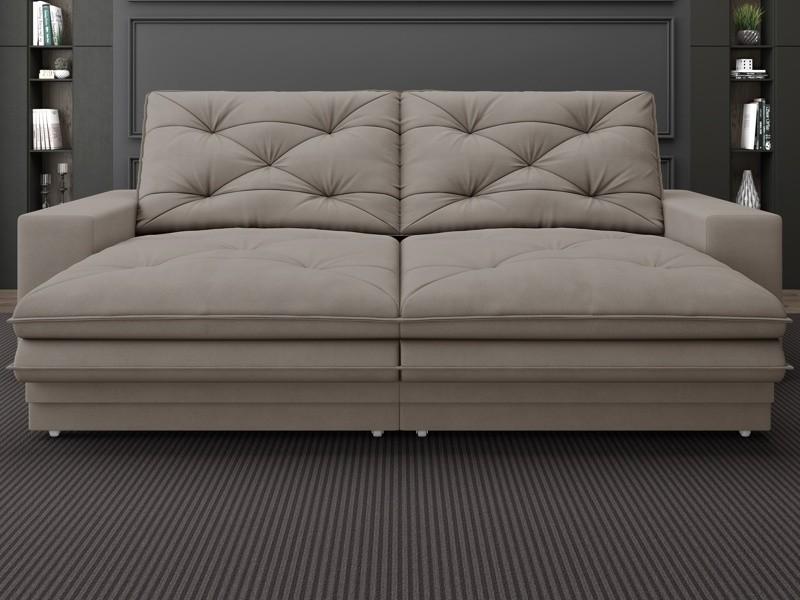 Sofá Neon 2,20m Retrátil e Reclinável Velosuede Bege - NETSOFAS
