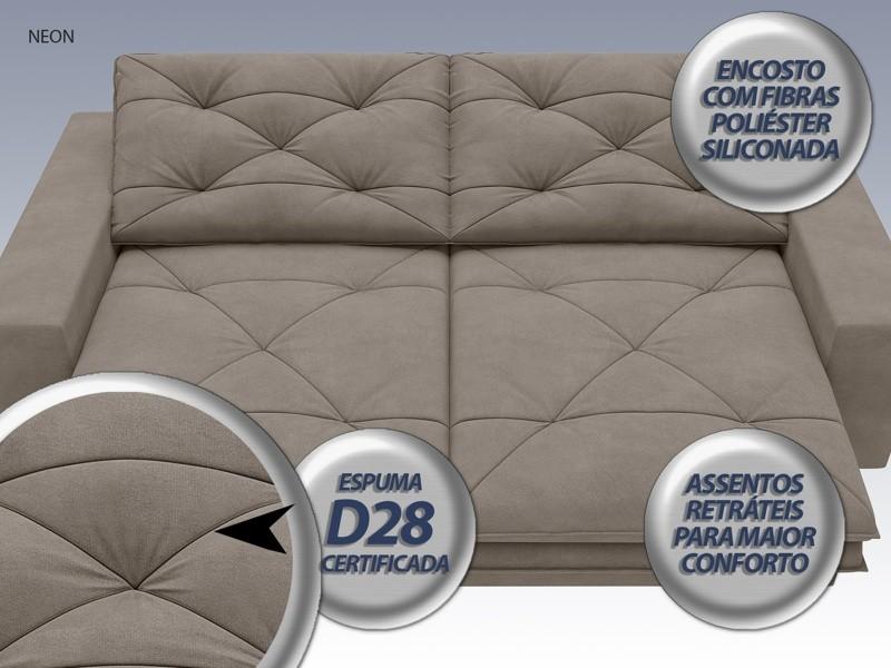 Sofá Neon 2,20m Retrátil e Reclinável Velosuede Bege - NETSOFAS  - NETSOFÁS