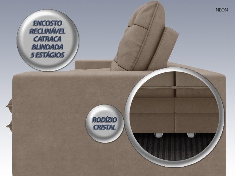 Sofá Neon 2,20m Retrátil e Reclinável Velosuede Capuccino - NETSOFAS  - NETSOFÁS