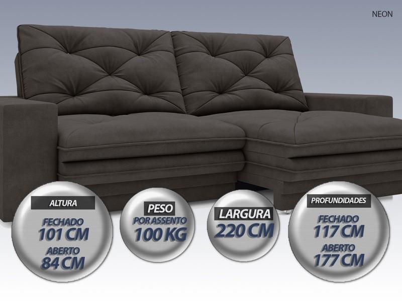 Sofá Neon 2,20m Retrátil e Reclinável Velosuede Chocolate - NETSOFAS