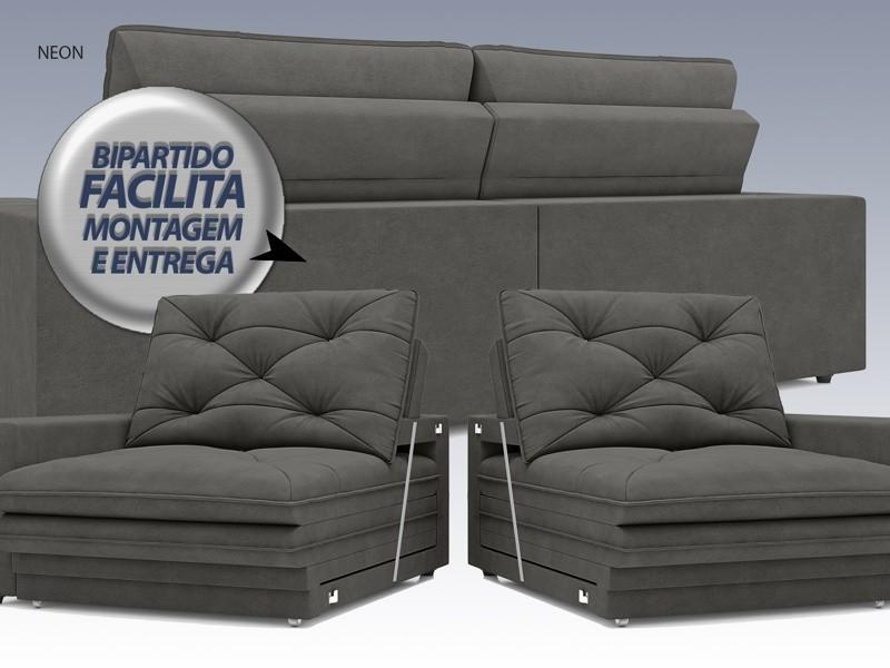 Sofá Neon 2,20m Retrátil e Reclinável Velosuede Cinza - NETSOFAS  - NETSOFÁS