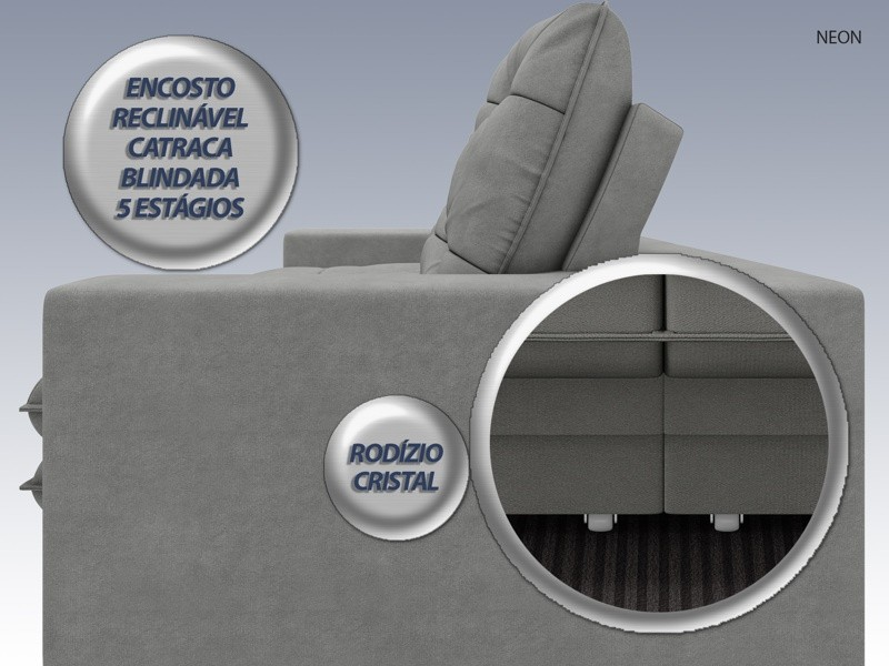 Sofá Neon 2,20m Retrátil e Reclinável Velosuede Grafite - NETSOFAS
